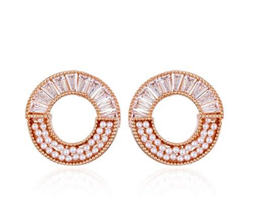 Pendientes de oro rosa plata de ley femenina 2021 nueva moda simple moda generosos pendientes lindos
