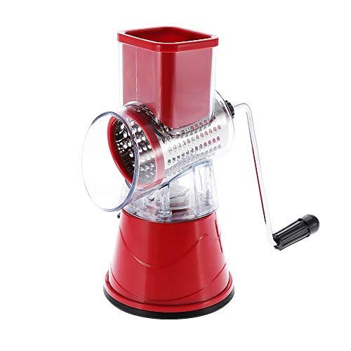 Trituradora de acero inoxidable, cortador de verduras, rallador de queso de acero inoxidable, multiusos, seguro para amigos para la cocina en el hogar (rojo)