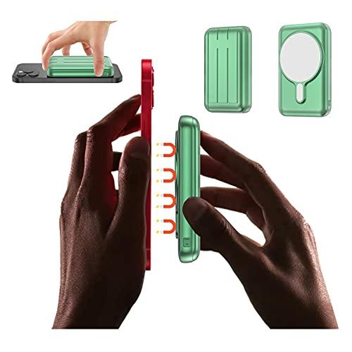 Banco de energía inalámbrico magnético 10000 mAh, paquete de masa externa para iPhone 12/Mini/Pro/Max, (fuerte imán) 15 W QI Mag-Safe Cargador rápido portátil con cable USB C PD QC 3.0 Power (verde)