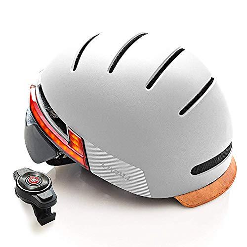 Livall Fahrradhelm BH51T mit Rücklicht, Blinker und SOS-System (grau)