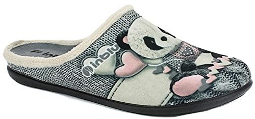 inblu GF000006 Grigio Ciabatte Pantofole Donna Invernali Zeppa 2 CM Extra Soft Antistress