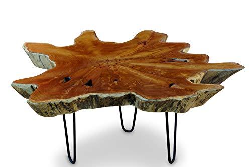Teak Couchtisch LUHU - ca. 80x80cm Tischplatte aus massiver Wurzelholz Baumscheibe im rustikalen Landhausstil, geeignet für Wohnzimmer, Wintergarten oder als Kaffeetisch