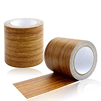YG_Oline 2 Rolls 2.2  X15  Antique Wood Grain Repair Tape Wood Grain Patch Adhesive Tape for Repairing Floors Wardrobes Tables and Chairs  Antique Brown
