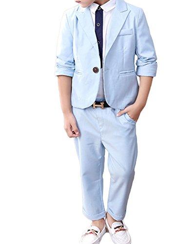 Quge 2Piezas Trajes De Ceremonia para Niños Graduación Traje Niño Traje De Boda Blazer+ Pantalones Largos Cielo Azul XXXL