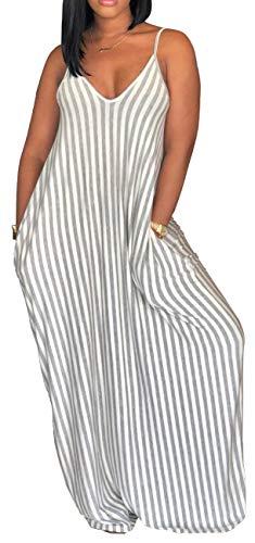 Women's Summer Plus Size Maxi Dresses Spaghetti Strap Dress Floor Length Sundress with Pockets (X-Large, Grey)