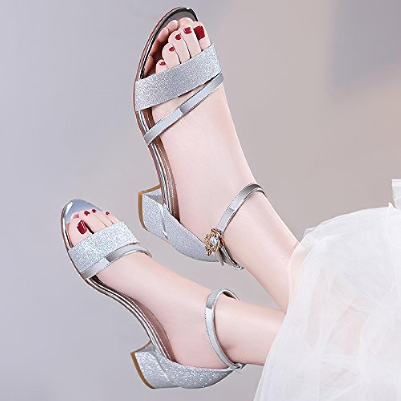 GTVERNH-Female Spring Wild Rough Sandals Summer Middle Heels Rome 4Cm High Heels.