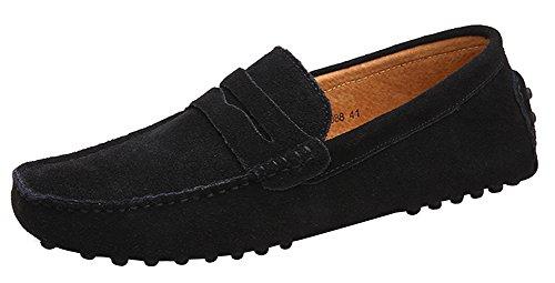 Yaer Zapatos hombre Mocasines calzado plano-Mocasines para hombre (Negro EU44)