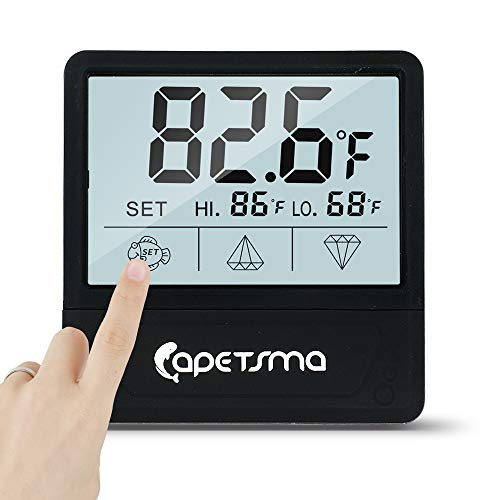Aquarium Thermometer, C/F Switch LCD Digital Fish Tank Thermometer with Large Clear Screen, Monitor Water Terrarium Temperature, No Messy Wires in Your Saltwater Freshwater and Reef Aquarium. (Black)