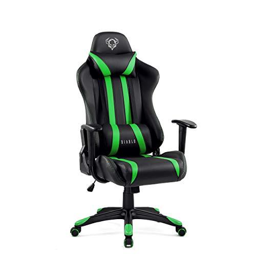 Diablo X-One Gaming Silla de Oficina Diseño Ergonomico Mecanismo de Inclinación Cojin Lumbar y Almohada Cuero Sintético (Negro-Verde)