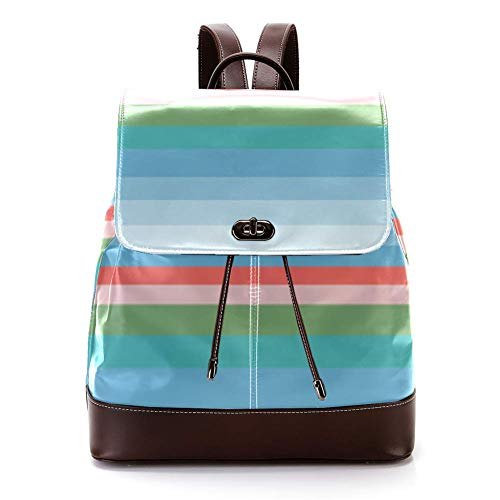 Casual PU Leather Zaino per gli Uomini, Donne Borsa a Tracolla Studenti Daypack per Viaggi Business College Sea Water Dividere Line