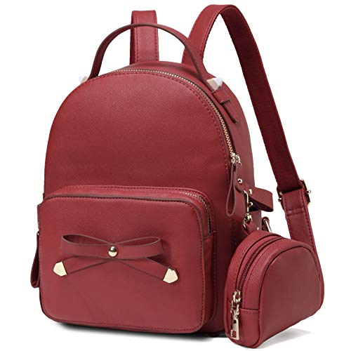 MiniBackpack,VASCHY Cute Small Bow-knot Backpack for Women, Ladies and Girls with Detachable Coin Pouch, Red