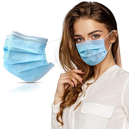 Mundschutz Maske, VICIVIYA 50 Stück Einweg Masken, 3-lagig Mundschutz Gesichtsmaske Mundschutzmasken Einwegmaske Mund-Nasen-Maske, Unisex, Blau
