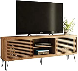 HomeRoots Light Wood TV Stand 70 Inches TV Modern Elegant with Metal Legs and Wood Slat Sliding Doors