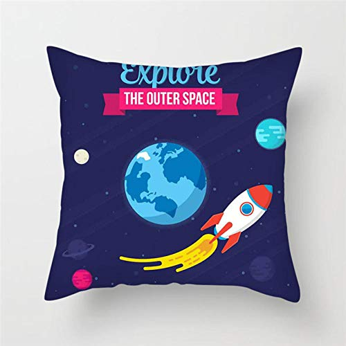 LIFUQING Cartoon Spaceship Cushion Cover Astronaut Rocket Pillow Cover For Home Chair Outer Space Decoration PillowCushion cover 17.7 x 17.7 inches