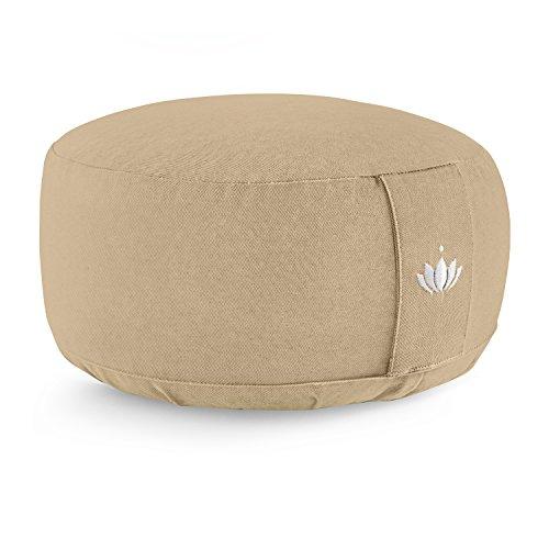Lotuscrafts Cuscino Meditazione Yoga LOTUS - Altezza 15 cm - Rivestimento in Cotone Lavabile - Ripieno di farro - Cuscino Yoga Meditazione - Cuscino Zafu - Meditation Cushion - Certificato GOTS
