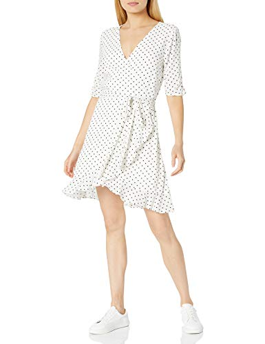 The Drop Women's Aki Short Sleeve Ruffle Viscose Mini Wrap Dress