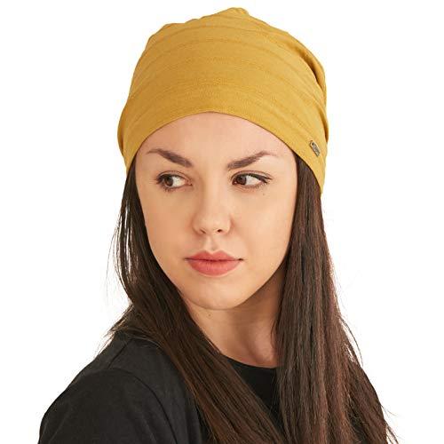Leichte Sommer Mütze für Damen - Herren Slouchy Mütze Stretchy Slouch Strickmütze aus 100% Baumwolle Chemo Hut Mustard