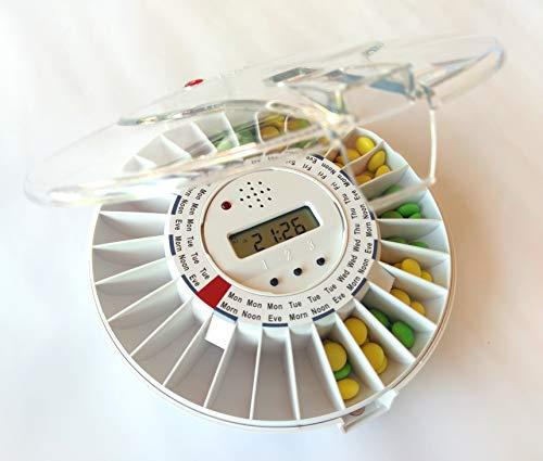 Englischsprachige automatische elektronische Pillendose DoseControl mit englischen Dosierungsringen und transparentem Deckel, automatische Tablettenbox, automatische Tablettendose