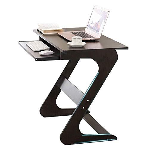 HUYP Tabella del calcolatore del Computer Portatile con la Tastiera Scorrevole for Piccoli spazi PC a Forma di Z Semplice Noce Nero a Colori, 75x40x70cm