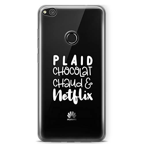 ZOKKO - Cover per Huawei P8 Lite 2017, motivo: Plaid Cioccolato Caldo Netflix, morbida trasparente, inchiostro bianco