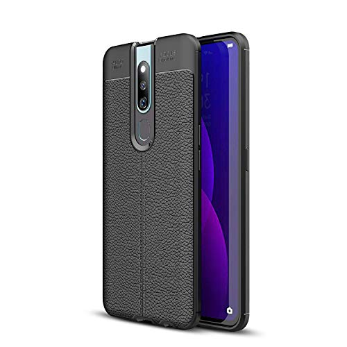 Oppo F11 Pro Case, Silicone Leather[Slim Thin] Flexible TPU Protective Case Shock Absorption Carbon Fiber Cover for Oppo F11 Pro Case (Black)