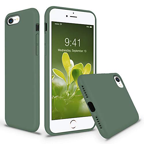 Vooii iPhone SE Case (2020), iPhone 8 Case, iPhone 7 Case, Soft Silicone Gel Rubber Bumper Case Microfiber Lining Hard Shell Shockproof Full-Body Protective Case Cover for iPhone SE/7/8 - Pine Green