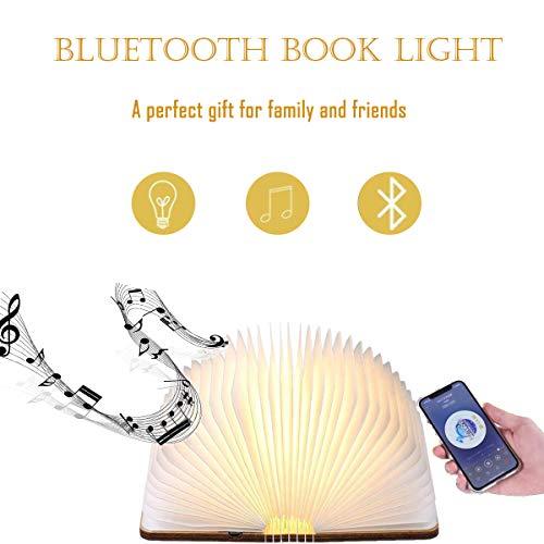 Topnaca Led-boek, oplaadbare opvouwbare lampen, USB-nachttafellamp, luidspreker, bluetooth, muziek, licht, magnetisch hout, met 5 kleuren, tafellamp, bureaulamp met accu, 2000 mAh