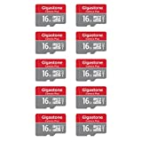 Gigastone Lot de 10 Carte memoire Micro SD HC 16 Go U1 C10 (4 étuis et 2 adaptateurs SD Inclus). Vitesse de Lecture allant jusqu'à 85 Mo/s. Haute Vitesse vidéo Full HD
