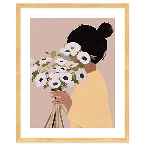 Colossal Art House Flower Bouquet Matted Glass Framed Art Poster with Ivory Mat for Wall Decor (Brown)