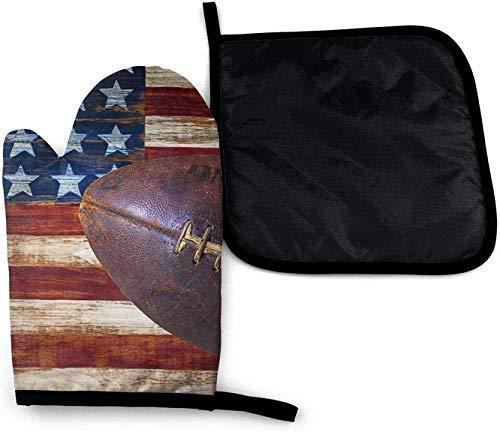 Madera Vieja Bandera Americana Rugby Vintage Horno de microondas Guantes y Porta ollas Juego de Cubierta de Aislamiento térmico Manta Estera Almohadilla Mitones Guantes Antideslizantes para Barbacoa