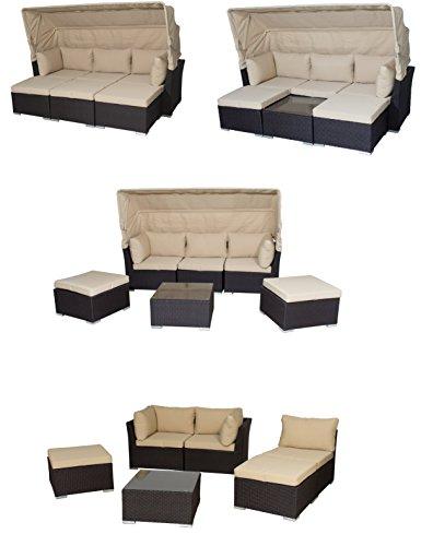Siena Garden Poly Rattan Multifunktions - Lounge/Sonneninsel inkl. wasserabweisenden Kissen Marino, UVP 1298.-€