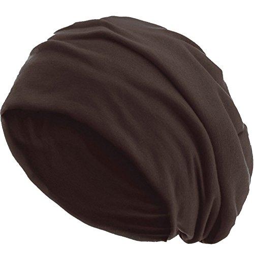 style3 Slouch Beanie aus atmungsaktivem, feinem und leichten Jersey Unisex Mütze Haube Bini Einheitsgröße, Farbe:Coffee