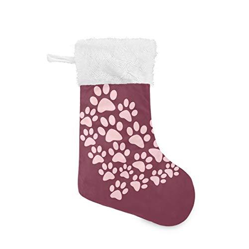 Christmas Socks Heart Paw Print Personalized Santa Stocking Gift Kids Fireplace/Restaurant/Hotel/Club/bar for Xmas Tree Decor