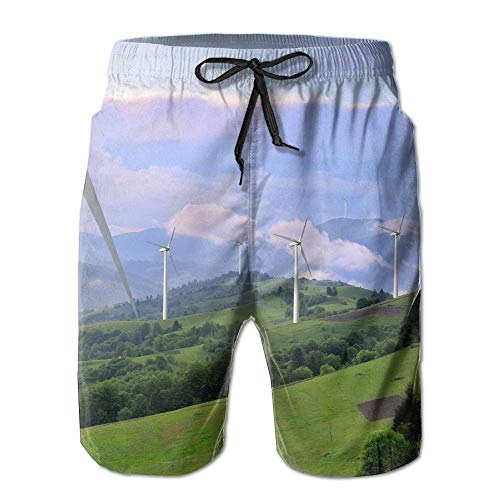 Mens Swim Trunks Watercolor Colored Ice Cream Pattern Quick Dry Beach Board Shorts with Mesh Lining