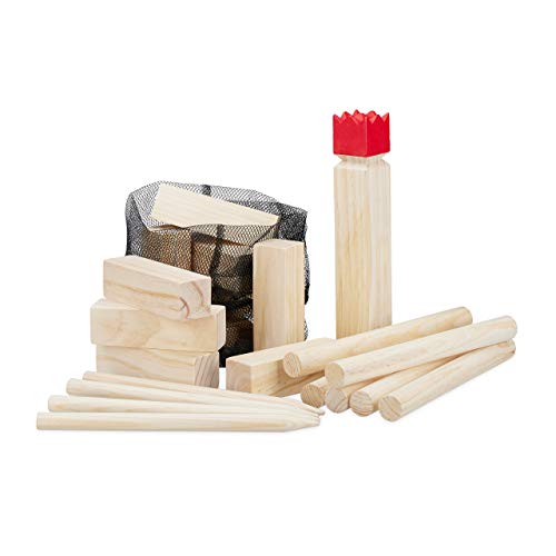 Relaxdays Wikinger Wurfspiel aus Kiefernholz, Natur Kubb Wikingerspiel, roter König, groß, Gartenspielzeug mit Tasche