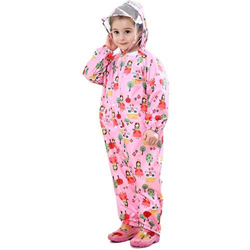 LIVACASA Unisex Tuta Impermeabile Bambino Poncho Antipioggia Bambina con Cappuccio Leggero con Stampato per Bambini 1-7 Anni Rosa(Principessa) Marca S 1-3 Anni/Statura: 75-90cm