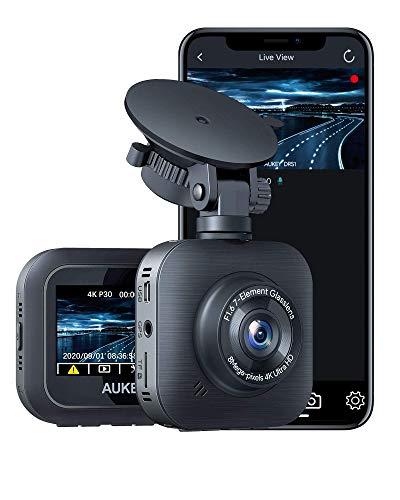 AUKEY 4K Cámara de Coche 3840 x 2160p WiFi Dash CAM Supercondensador y 170 Grados Gran Ángulo Dashcam con WDR, Detector de Movimiento, G-Sensor