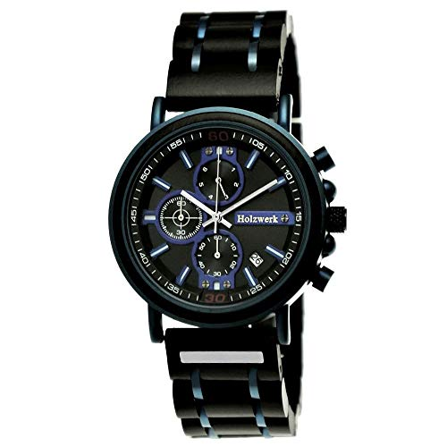 Handgefertigte Holzwerk Germany® Designer Herren-Uhr Öko Natur Holz-Uhr Chronograph Armband-Uhr Analog Quarz-Uhr Blau Braun Datum Holz Ziffernblatt