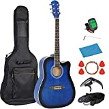 Smartxchoices 6 String 41' Full Size Acoustic Guitar Cutaway Wooden Guitar Set w/Gig Bag Strap, Tuner, Capo,Extra Strings Set Pick for Kids Beginners Starter Adult Youths Students Right-handed (Blue)