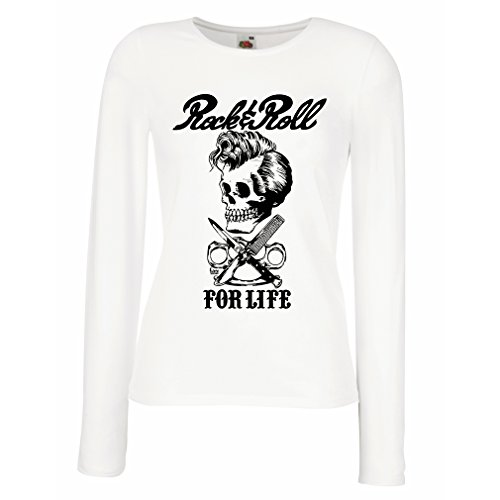 lepni.me Camisetas de Manga Larga para Mujer Rock and Roll For Life - 1960s, 1970s, 1980s - Banda de Rock Vintage - Musicalmente - Vestimenta de Concierto (Large Blanco Multicolor)