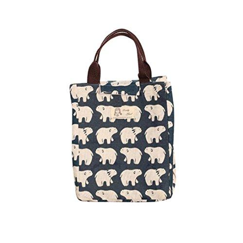 Sensail Sac à Déjeuner en Tissu Oxford Tote Bento Portable Isotherme Imperméable Lunch Bag Thermique isolé pour Ecole Bureau Voyage Pique-Nique (B, 24X20X17cm)