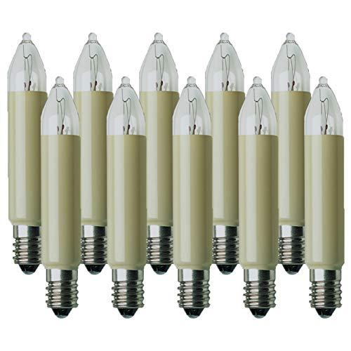 Hellum 938012 Ersatz-Kleinschaftkerze für Lichterketten mit 10 Brennstellen/Innen- und Außenbeleuchtung/warmweiß/elfenbein / E10 Sockel / 23 V / 3 W / 10 Stück