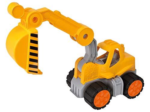 BIG-Power-Worker Bagger, Spielzeug Auto ideal für Unterwegs, Reifen aus Softmaterial, beweglicher Ladearm mit Schaufelfunktion, sonnengelb für Kinder ab 2 Jahren