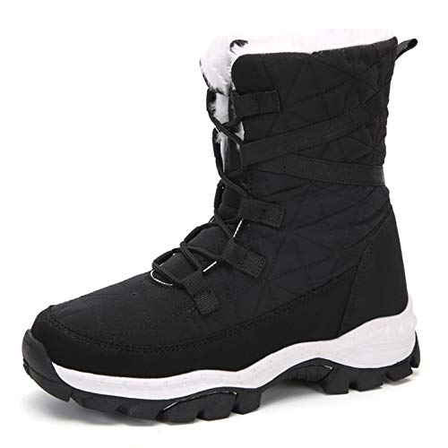 Insole Snow Boots Woman Plush Lining Warm Ankle Boots Waterproof Non-Slip Winter Shoes Booties for Daily Life Party Work,Black,38