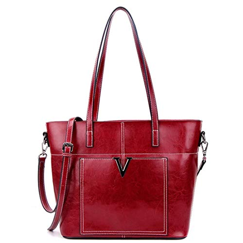 TEYUN Women Leather Top Handle Shoulder Bag Messenger Tote Bag Purse (Color : Wine red)