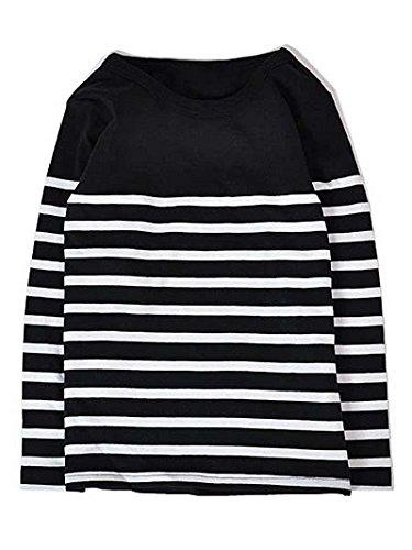 H STYLE キッズボーイズ 綿100%ボーダー長袖 Tシャツ ロンT カットソー (100 黒×白)