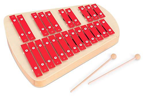 Classic Cantabile CX-23 Glockenspiel - Chromatisches Sopran-Xylophon - Resonanzkörper - 23 sauber gestimmte Töne (c' bis a#'') - Inkl. ein Paar Holz-Schlägel - Rot