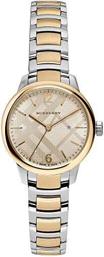 Burberry Reloj suizo clásico redondo de acero inoxidable de dos tonos para mujer, 32 mm, BU10118