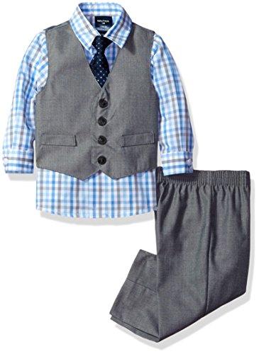 Nautica Dressy Vest Set, Light Grey/Blue Check, 12M