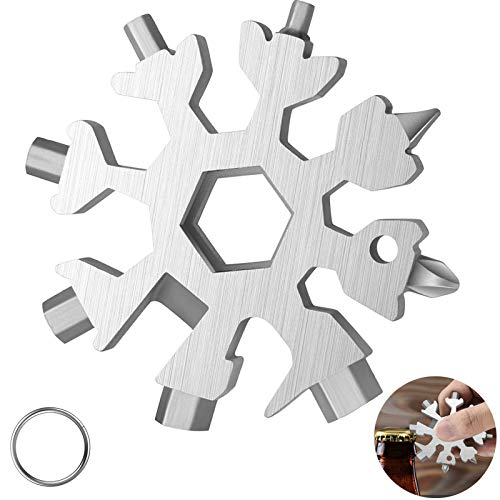 18-in-1 Snow-flake Multi-Tool ,Stainless Steel Snow Multitool Bottle Opener/Flat Phillips Screwdriver Kit/Wrench/Keychain Gadgets for Outdoor Travel Camping Daily Tool,Great Christmas GiftS (Silver)